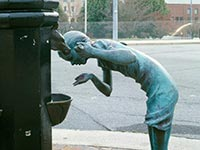 The Little Sipper sculpture on the Asheville Urban Trail