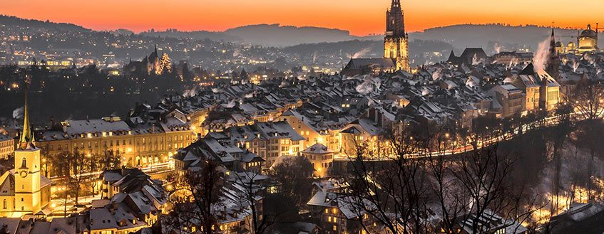 Bern's majestic Old Town at dusk.