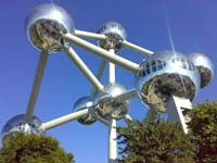 The Atomium, a 102-metre tall aluminium and steel structure built in 1958 for the World Fair.