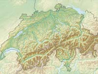 A topographic map of Switzerland (© Tschubby, CCA 2.0 Generic).