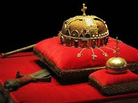 The holy crown of Hungary, on display at the Hungarian Parliament