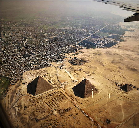 Aerial photograph of the pyramids of Egypt