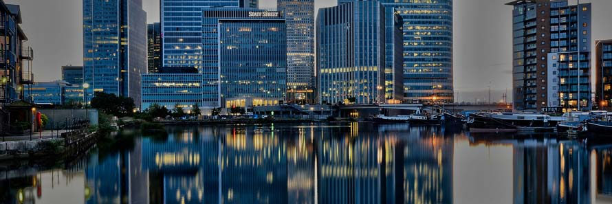 Reflections of Canary Wharf skyscrapers