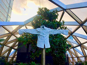 A scarecrow in the Crossrail Place roofgarden