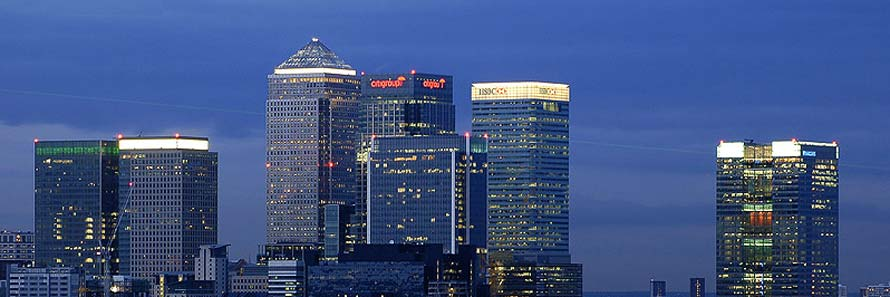 A panoramic view of Canary Wharf at dusk