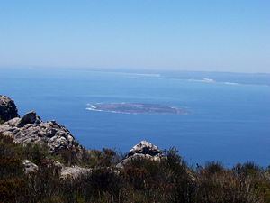 Robben Island as viewed from Table Mountain