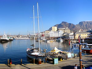 A panoramic view over the Victoria Basin at the V&A Waterfront