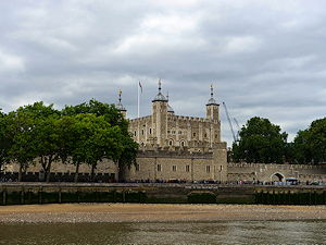 London Tower seen from the other river side on a cloudy day