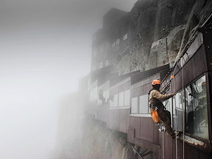 People working at Aiguile du Midi in Chamonix, France