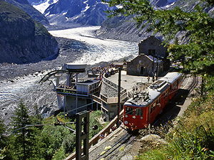 The train leaving Montenvers station by the Mer de Glace