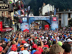 Behind the starting line about 3:37 pm at the UTMB in Chamonix in 2013