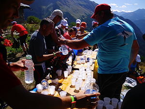 Water station along the Ultra Trail Mont Blanc in Chamonix