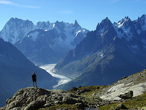 View of Mer de Glace glacier on the French side of the Mt Blanc massif