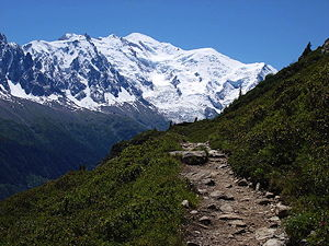 A view of Mont Blanc from the Tour du Mont Blanc,
