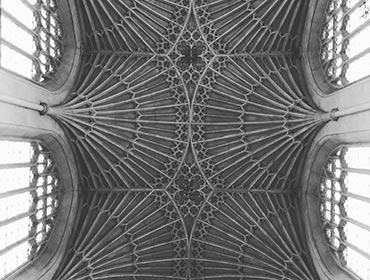 The intricately vaulted ceiling of Bath Abbey