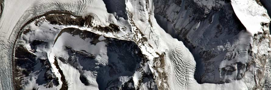 An aerial view of the summit of Mount Everest