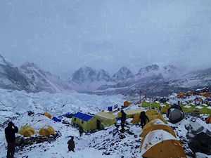 Everest Base Camp during snowfall