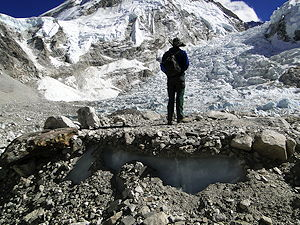 A temporary tent platform on the Khumbu glacier