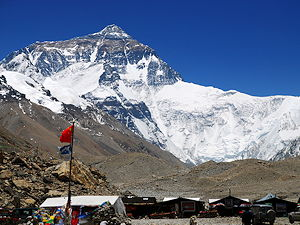 Mount Everest seen from the Everest Base Camp on China side