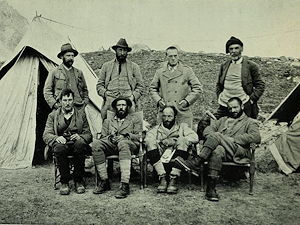 1921 Mount Everest reconnaissance expedition team members. Taken at 17,300 advanced base camp.