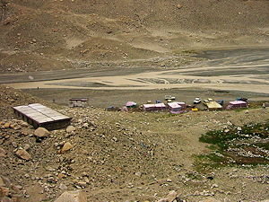A view of Everest North (Tibet-side) Base Camp looking west
