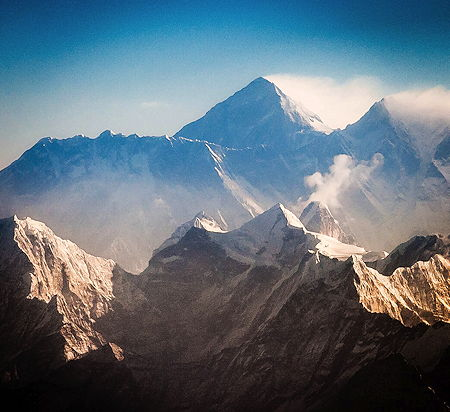Nuptse, Mt. Everest and Lhotse in the early morning