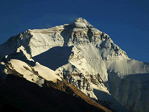 Mount Everest seen from north from Ronguk monastery in Tibet