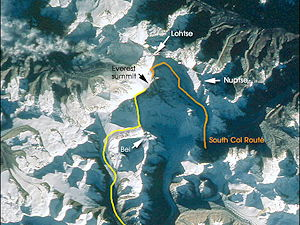 Overview of South Col route and North Col/Ridge route at Mount Everest