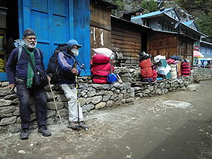 People taking a short rest on Everest Base Camp Trail, Nepal