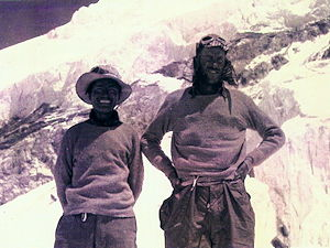 A photo of Tenzing and Hillary, the first expeditioners to climb Mount Everest