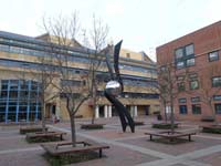 Library Square, at the heart of the Queen Mary's Collge campus in Mile end