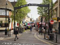 The Western entrance to Roman Road Market