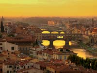 Ponte Vecchio at sunset from the Michelangelo Park