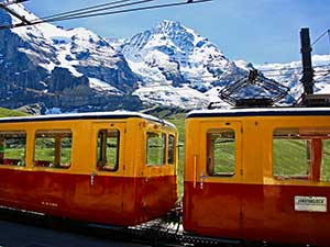 The view from the Jungfraujoch, reached via the Jungfrau Railway or Jungfraubahn.