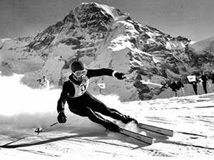 The world-famous Lauberhorn course, run every January