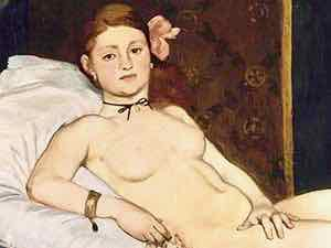 Edouard Manet's Olympia was displayed in the Salon of the Academy des Beau Arts in 1865.