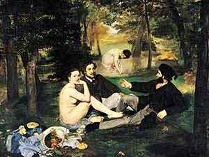 Edouard Manet's Dejuner sur l'herbe was rejected from the 1863 Salon but shown in the Salon des Refuses (Salon of the Refused).