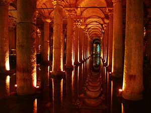 The Basilica Cistern, or Cisterna Basilica, is the largest of several hundred ancient cisterns that lie beneath the city of Istanbul (formerly Constantinople), Turkey.  (© Dpnuevo, CC BY-SA 3.0)
