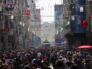 The İstiklal Avenue in Beyoğlu, Istanbul on a busy afternoon