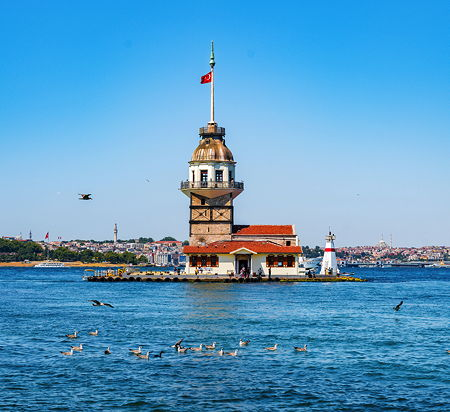The Maiden's Tower, since the medieval Byzantine period, is a tower lying on a small islet located at the southern entrance of the Bosphorus strait 200 m (220 yd) from the coast of Üsküdar in Istanbul, Turkey.