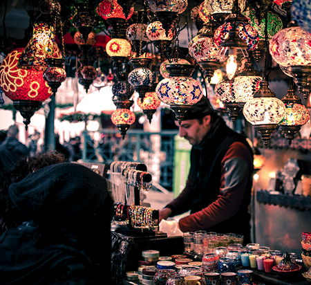 The bazaars of Istanbul are an amazing eyesight with ist colorful lamp shops