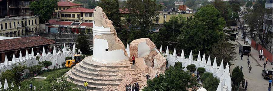 The remains of the Dharahara Tower, Kathmandu