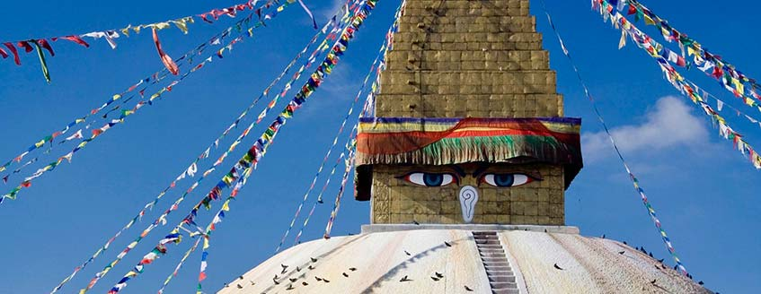 The iconic images of Kathmandu are the prayer flags and Buddha's eyes of the Boudhanath Stupa
