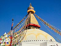 The Boudhanath Stupa, a world heritage site, is one of the holiest and most recognisable attractions in Kathmandu.