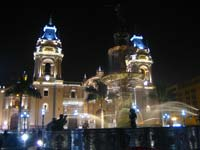 Lima's cathedral at night