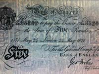 A £5 Bank of England banknote from 1871.
