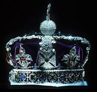 The Imperial State Crown, part of the Crown Jewels, housed in the Tower of London
