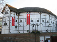 A photo of Shakespeare's Globe, on the south bank of the Thames