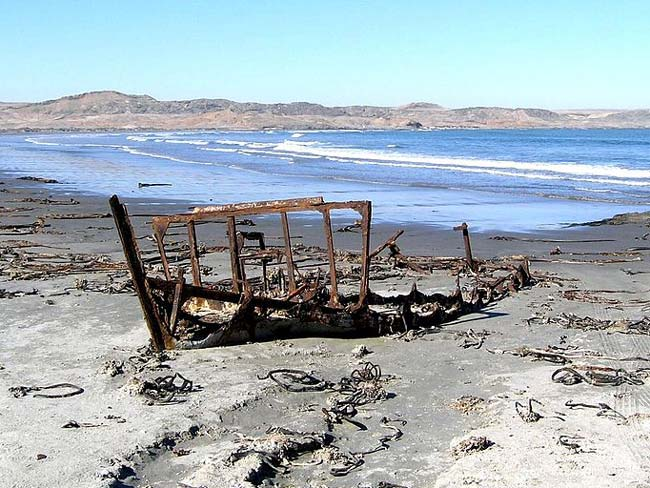A rusting shipwreck on Skeleton Coast