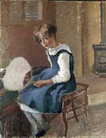 Jeanne Holding a Fan, oil on canvas painting by Camille Pissarro, c.1874, the Ashmolean Museum.
